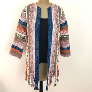 ZARA Multicolored Ribbon Jacket Top Boho  XS